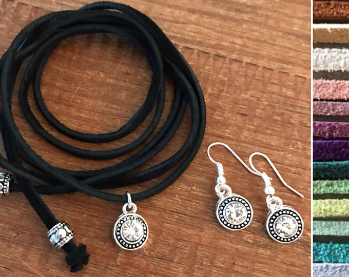 Clothing Gift Set Holiday Jewelry Set Choker Necklace Matching Earrings Diamond CZ Crystal Leather Vegan Suede Custom Bridesmaids Jewelry