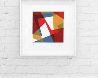 Limited Edition Geometric Screenprint, Handmade Print, Contemporary 3 Colour Screenprint