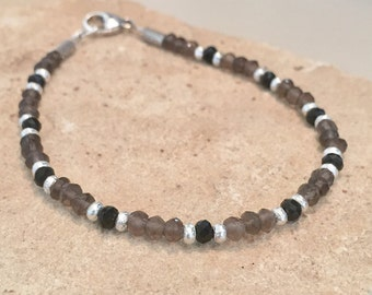 Gray and black bracelet, spinel and smokey quartz bracelet, gemstone bracelet, natural bracelet, Hill Tribe silver bracelet, gift for her