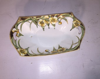 Yellow Flowers Green Petals Gold and Black brick Black edges Handled China Dish