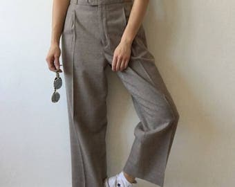 Vintage pants trousers high waisted 90s greige bayclub pure wool pleated pockets festival minimalist hipster normcore casual classy classic