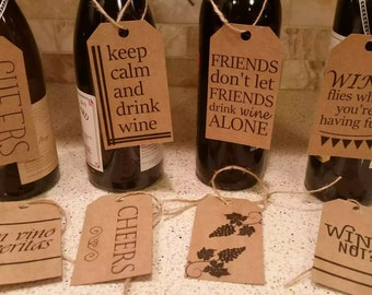 8 Wine Bottle Tags - Everyday Wine Gifts, Hostess Gifts, Holiday Gifts