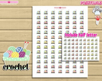 Functional Crochet Printable Stickers. Print and cut by hand at home set for your life planner.