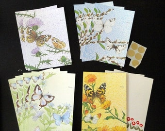 Vintage Current Just A Note Stationery Set, FREE shipping, Artist Linda K Powell, Self Sealing Note Cards.Butterflies & Wildflowers