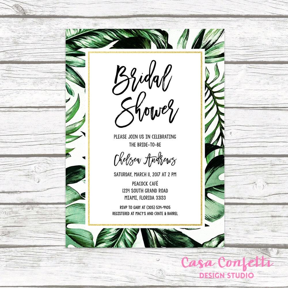 tropical bridal shower invitation tropical invitation palm tree