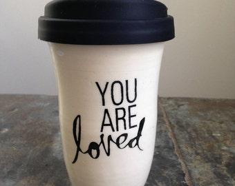 Travel Mug, Ceramic Travel Mug, Coffee Mug, Ceramic Coffee Mug, Coffee Travel Mug, Tea Mug, Tea Travel mug Handemade by RuthiesPottery