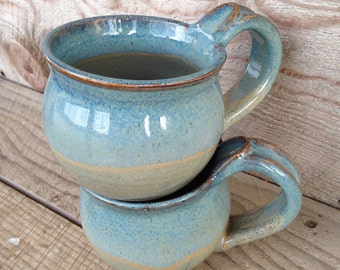 Mugs, Ceramic Mugs, Coffee Mugs, Tea Mugs, Blue Mugs, Handmade by RuthiesPottery