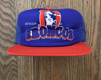 Vintage 80s 90s Deadstock New Era Denver Broncos NFL Mesh Trucker Hat Snapback Baseball Cap * Made In USA