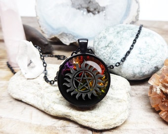 Anti Demon Tattoo Supernatural necklace anti possession necklace Dean Winchester Necklace Anti demon charm necklace sam necklace protection