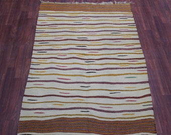 vintage Turkish rug kilim, Tribal art rug, Soft color floor rug, Hand woven Anatolian kilim, Vegetable dye rug, Nomade type kilim 6.1' x 4'