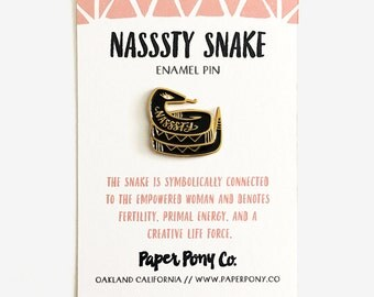 Nasssty Snake Lapel Pin / Enamel Pin Badge Feminist Nasty Woman Gold Black Serpent Brooch Activism Planned Parenthood Female Modern
