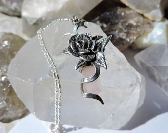 Rose Quartz Necklace Sterling Silver