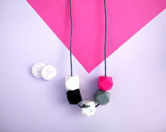 Silicone Teething Necklace - Pink Grey Marble White & Black | New Mum Gift | Baby Shower Gift | Nursing necklace | Geometric necklace