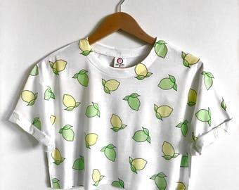 Lemon Lime Crop Top - Unisex Harajuku Fruits - Genderless Kei  - Cute Crop Tops - Pastel Goth - Kawaii Streestyle - All Over Print Crop Top