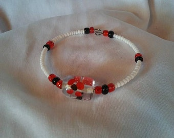 Red Flower Clutch Bracelet