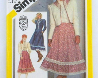 1982 Gunne Sax Shirt, Ruffle Skirt, & Quilted Jacket - Simplicity Sewing Pattern 5491 Misses Size 12; Uncut; Old Fashioned Romantic Outfit