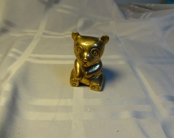Brass Panda Bear - Brass Teddy Bear - Figurine, Statue - Vintage Brass Bear