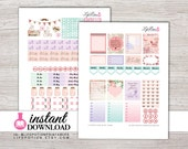 Printable Planner Stickers - Erin Condren Weekly Stickers - Instant Download - Silhouette - Design: Vintage
