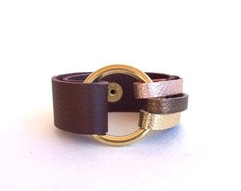 Handmade Leather Bracelet, Leather Cuff Bracelet, Leather Wrap Bracelet, OOAK Bracelet, Rose Gold, Brown Leather Cuff, Brass Ring Bracelet