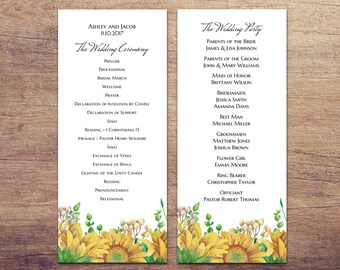 rustic wedding program template country ceremony sunflower program printable floral ceremony program card download botanical wedding