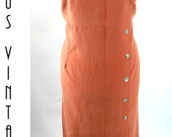 "Plus Size UK 18 Vintage Terracotta Maxi Dress Silky Cupro EU 44 US 14 Bust 44"" 112cm"
