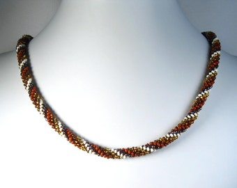 Hand Crocheted Browns Glass Seed Bead Necklace