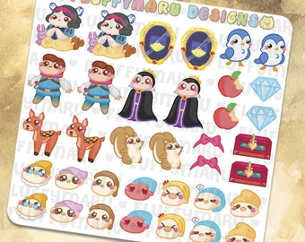 Snow White Deco Set || Planner Stickers, Cute Stickers for Erin Condren (ECLP), Filofax, Kikki K, Etc. || DS20