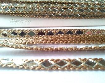Mirror border gota trim metallic golden antique ribbon craft supply Indian saree blouse neckline bridal dress lace home decor