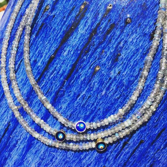 Labradorite & Sky Blue Enamel Choker