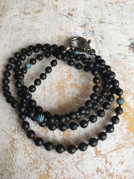 Turquoise CZ Balls, Black Onyx & Hematite Wrap Necklace