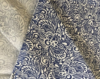 Navy Print Fabric, by the yard,Quilting cotton, Quilting yardage, Persian Print, Swirls Print, Indian Cotton, Stiff Cotton, Sheeting Cotton