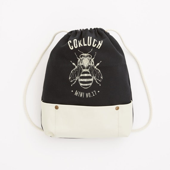 BALUCHON - bundle bagpack, leather for kids - black and white with Cokluch Mini No.17 bee