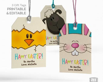 Easter Favour Tags, EasterTags, Chick, Sheep, Bunny, Easter bunny, DIY Easter Tag, Printable Easter Tags, Instant Download, ZWDEASTER0049