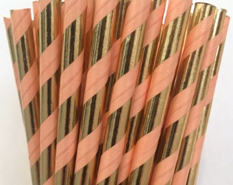 2.85 US Shipping -Coral and Gold Foil Paper Straws  -  Coral Gold Straws- Cake Pop Sticks - Drinking Straws - Coral Straws