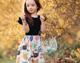 Girls Chicken Skirt, Easter, Farm Skirt, Country, Rustic, Baby Clothing, Girls Clothes, Girls Clothing