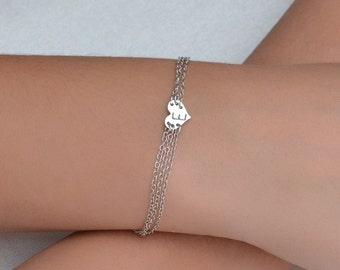 PERSONALIZED HEART BRACELET // Initial Bracelet - Letter Bracelet - Initial Heart Bracelet - Silver Monogram Bracelet - Monogram Bracelet