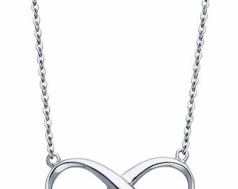 14K Solid White Gold Classic Dainty Infinity Pendant Necklace