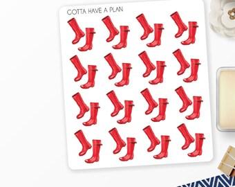Planner Stickers Watercolor Rain Boots for Erin Condren, Happy Planner, Filofax, Scrapbooking