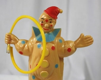 Vintage 1960's Circus Clown With Hoop Toy Figure-Hard Plastic