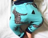Blue Zebra Harems, Organic Baby Clothes, Baby Harem Pants, Baby Harems, Baby Leggings, Baby Pants, Toddler Harems, Toddler Leggings