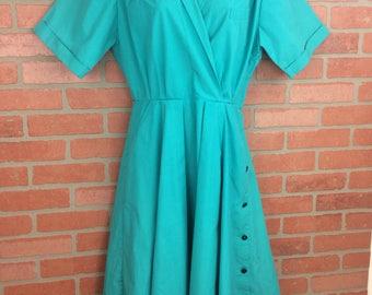 Vintage blue A-line dress large