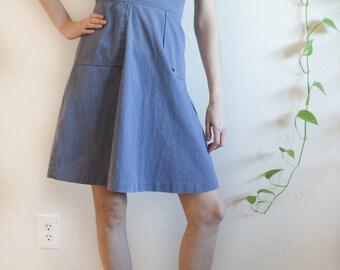 Retro Blue Corduroy Summer Dress