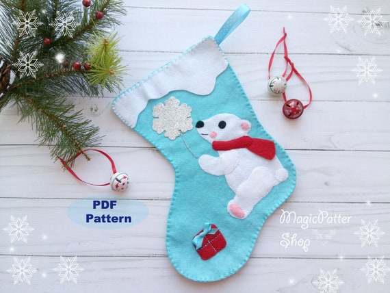 Pdf Pattern Felt Christmas Stocking Pattern Polar Bear