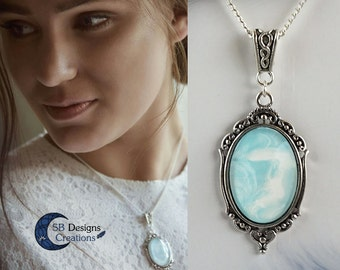 Necklace with a pastel blue-white marbed pendant, fantasypendant, fantasynecklace, alternative, gothic, marble, texture, for her, unique