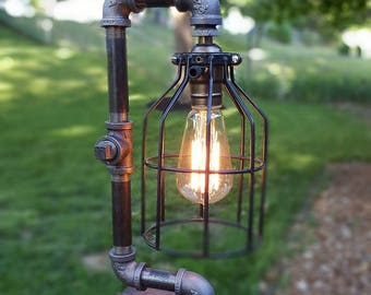 Cage Lamp - Lamp Desk Lamp Industrial Lamp Edison Light Table Lamp Vintage Pipe Lamp Loft Lighting