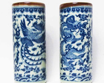 Blue White Exquisite Decorative Cylindrical Vase