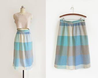 vintage plaid skirt / 60s pastel skirt / woven wool midi skirt / womens L