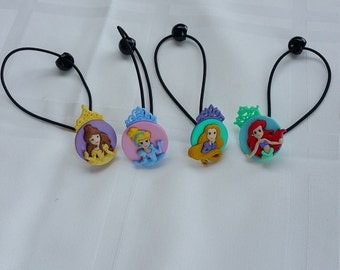 Princess Ponytail Holders , Hair Ties for Girls, Girls Hair Accessory , Toddler Hair Clips - Hair Ties