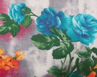 """Floral Printed, Indian Dress Fabric, Multicolor Fabric, Sewing Crafting, Quilt Material Cotton Fabric, 42"""" Inch Fabric By The Yard ZBC6846A"""