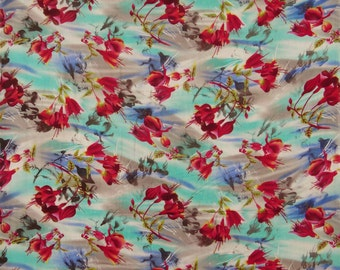 """Home Decor Rayon Fabric, Floral Print, Designer Fabric, Dress Material, Sewing Crafts, 44"""" Inch Fabric By The Yard ZBR220B"""